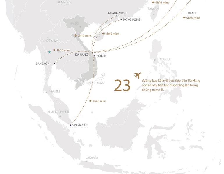 Vị trí kết nối từ Đà Nẵng đến các nước trên thế giới