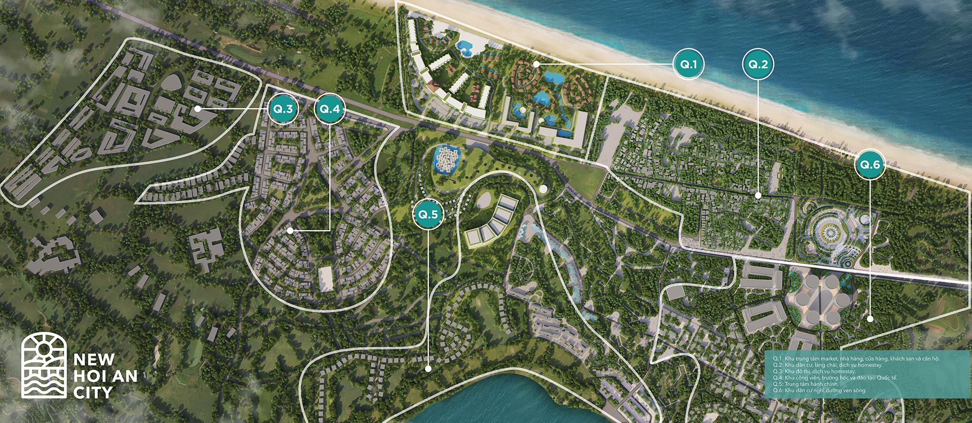 Vị trí của New Hội An City - trong toàn bộ khu dự án của Tập đoàn HB