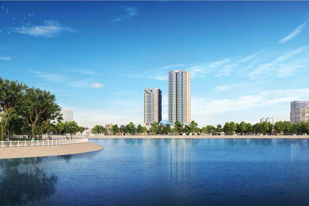 Dự án được bao bọc bởi hồ điều hòa Yên Hòa rộng 19ha