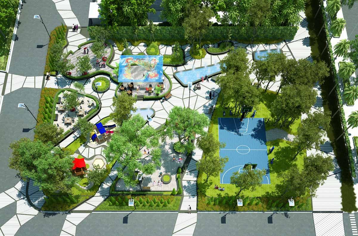 Công viên Manhattan rộng tới 1600m2 với các lối dạo bộ theo chủ đề Xuân - Hạ - Thu, vườn nướng BBQ, Pavilon Ký ức, Hồ nước, tiểu cảnh, sân chơi thể thao....