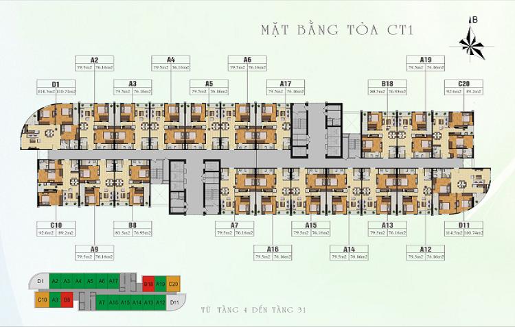 Mặt bằng tổng thể tòa CT1