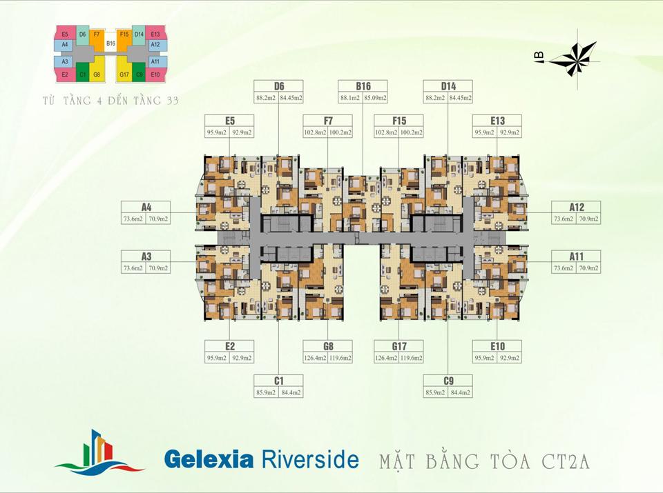 Mặt bằng tổng thể tòa CT2A