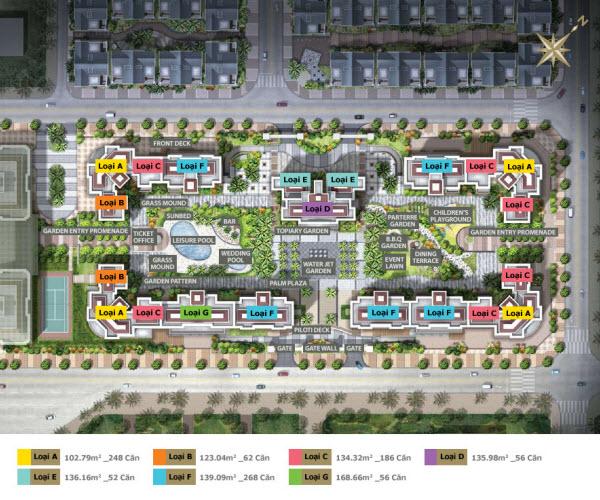 mặt bằng chi tiết vị trí các loại căn hộ tại dự án