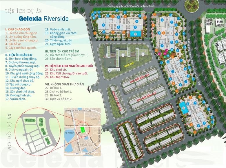Sơ đồ hệ thống tiện ích dành riêng cho cư dận Gelexia Riverside