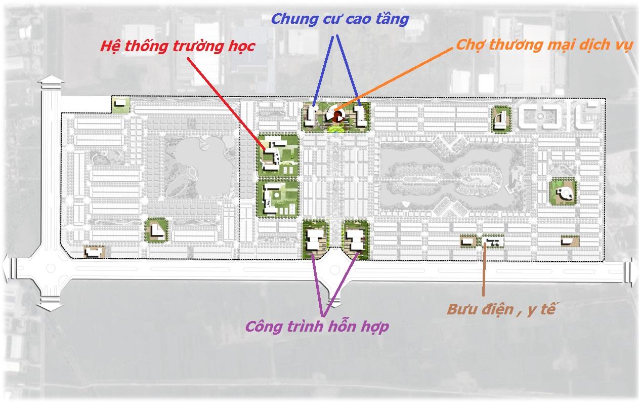 Sơ đồ vị trí khu tiện ích của V - Green City