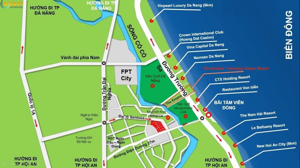 Vị trí đắc địa của Cocobay giữa thành phố Đà Nẵng, Biển Mỹ Khê và Phố cổ Hội An
