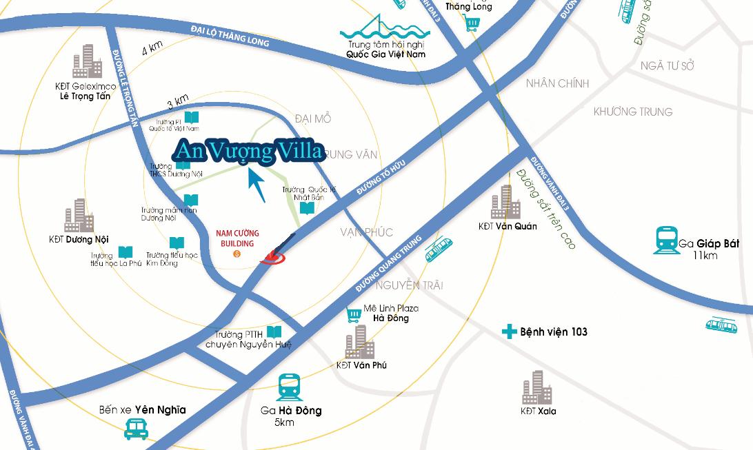 Bản đồ vị trí kết nối giao thông của An Vượng Villa