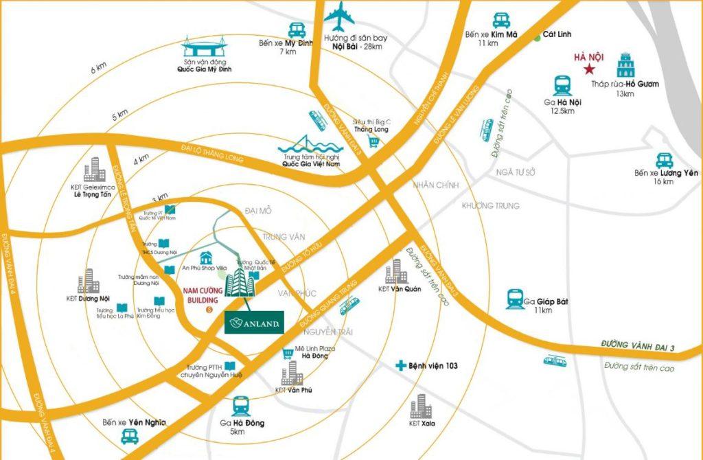 Sơ đồ vị trí của dự án AnLand Complex Nam Cường