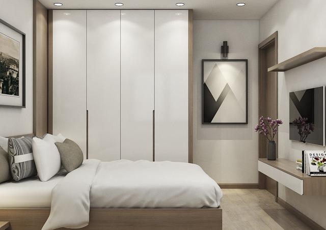 Phòng ngủ tông màu trung tính và cách âm hoàn hảo.
