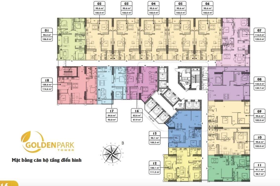Mặt bằng tầng điển hình các căn hộ chung cư