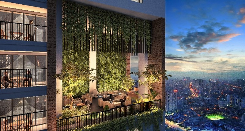 Không gian sinh hoạt chung với mảng xanh rộng tạo ra nơi gắn kết cộng đồng cư dân