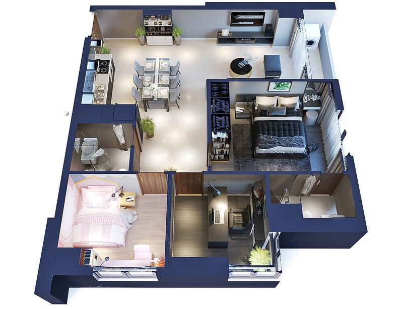 Căn hộ FLC Green Apartment có diện tích nhỏ nhưng thiết kế thông minh, hiện đại