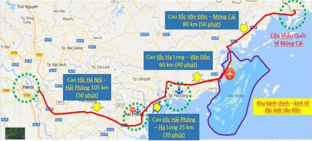 Sơ đồ cao tốc Hà Nội - Hạ Long - Vân Đồn Móng Cái