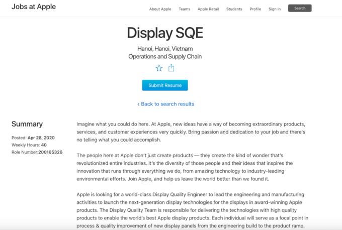 Apple đăng tuyển vị trí tại Hà Nội trên trang web chính thức của hãng. Ảnh chụp màn hình