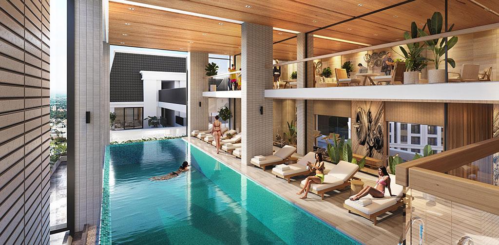 Bể bơi bốn mùa hiện đại trong nhà